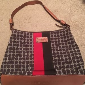 canvas Kate Spade bag w/ leather bottom and strap